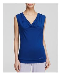 Calvin Klein - Blue Edge Cowl Top - Lyst