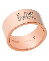 Michael Kors - Metallic Pave Burnished Band Ring - Lyst
