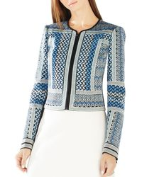 BCBGMAXAZRIA - Blue Duke Embroidered Jacquard Jacket - Lyst