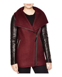 Mackage | Red Odilia Leather Sleeve Coat | Lyst