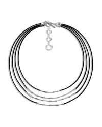 John Hardy | Black Sterling Silver Bamboo Four Row Necklace On Leather Cord, 16"