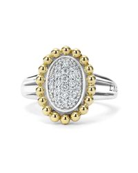Lagos - Metallic Sterling Silver And 18k Gold Oval Diamond Ring With Caviar Beading - Lyst