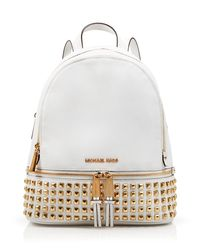 MICHAEL Michael Kors | White Small Rhea Zip Studded Backpack | Lyst