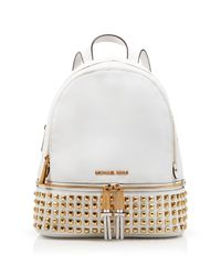 MICHAEL Michael Kors - White Small Rhea Zip Studded Backpack - Lyst
