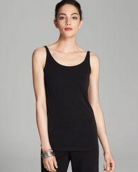 Eileen Fisher | Black Scoop Neck Long Silk Cami | Lyst
