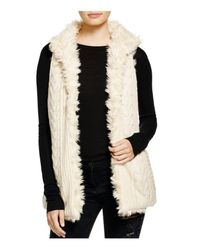 Aqua - Natural Reversible Faux Fur Vest - Lyst