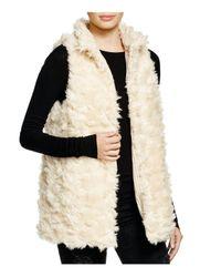 Aqua - Natural Reversible Faux Fur Vest - Lyst