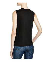 T By Alexander Wang - Black High-neck Jersey Tank - Lyst