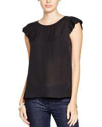Joie - Black Nesrin Pleated Sleeve Silk Top - Lyst