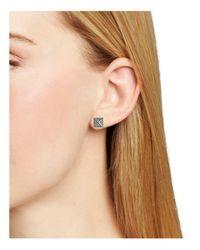 Rebecca Minkoff | Metallic Pyramid Faux Pearl Front Back Earrings | Lyst