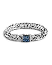 John Hardy | Classic Chain Sterling Silver Lava Large Bracelet With Blue Sapphire for Men | Lyst