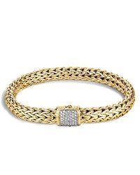 John Hardy | Metallic Classic Chain 18k Gold Medium Bracelet With Diamond Pave | Lyst