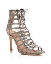 Joie | Gray Rhoda Caged Lace Up High Heel Sandals | Lyst