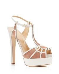 cc545fdf1844 Lyst - Sergio Rossi Puzzle Platform High Heel Sandals in Natural