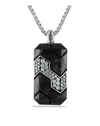 David Yurman - Black Forged Carbon Tag With Grey Sapphire In Silver for Men - Lyst