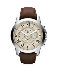 Fossil - Natural Q Grant Leather Strap Tech Watch, 44mm - Lyst