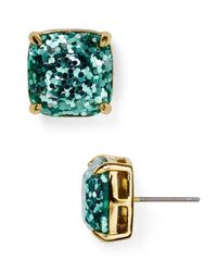 Kate Spade | Blue Small Square Glitter Stud Earrings | Lyst