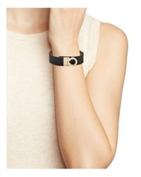 Ferragamo - Black Leather Sienne Gancini Wrap Bracelet - Lyst