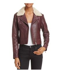 VEDA - Red Nova Shearling-collar Leather Jacket - Lyst