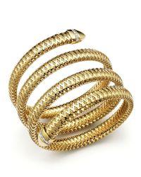 Roberto Coin | Metallic Primavera 18k Yellow And White Gold Flex Diamond Bracelet | Lyst