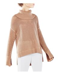 BCBGMAXAZRIA | Natural Bethenny Funnel Neck Mesh Sweater | Lyst