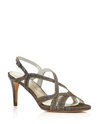 Stuart Weitzman - Gray Axis Strappy Mid Heel Sandals - Lyst