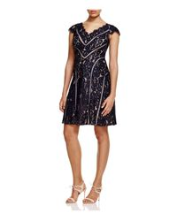 Adrianna Papell   Blue Lace Fit And Flare Dress   Lyst