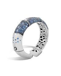 John Hardy | Bamboo Silver Lava Large Kick Cuff With Blue Sapphire | Lyst