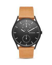 Skagen | Brown Holst Leather Strap Watch, 40mm for Men | Lyst