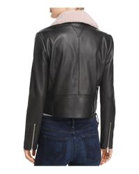 VEDA - Black Freeman Shearling-collar Leather Jacket - Lyst