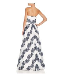 Betsy & Adam - White Strapless Lace Gown - Lyst