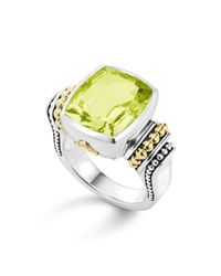 Lagos | 18k Gold And Sterling Silver Caviar Color Medium Ring With Green Quartz | Lyst
