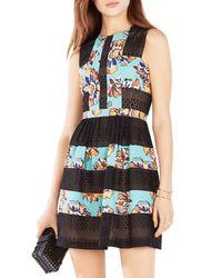 BCBGMAXAZRIA - Black Cecile Floral-blocked Dress - Lyst