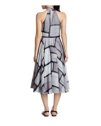 Halston - Black Printed Georgette Dress - Lyst