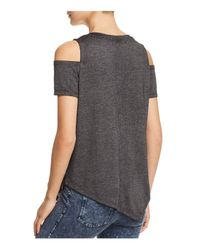 Marc New York - Black Performance Cold-shoulder Tee - Lyst