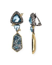Alexis Bittar - Blue Elements Pavé Shield Drop Clip-on Earrings - Lyst