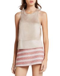 BCBGeneration - Natural Zip-back Tank Top - Lyst