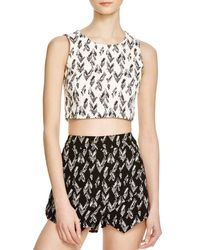 Aqua - Gray Broken Chevron Crop Top - Lyst