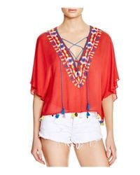 Piper - Java Embroidered Lace-up Top - Lyst
