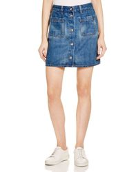 Rag & Bone Blue Mini Santa Cruz Denim Skirt In Capitol