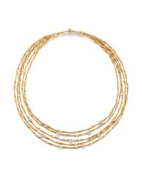 "Marco Bicego | Metallic 18k Yellow Gold Marrakech Couture Coiled Five Strand Necklace With Diamonds, 16.5"" - Trunk Show Exclusive 