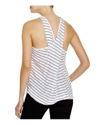 Splendid | White Striped Cross Back Tank | Lyst