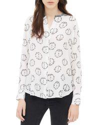 Sandro - White Etoile Printed Silk Shirt - Lyst