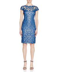Tadashi Shoji - Blue Sequined Lace Illusion Dress - Lyst