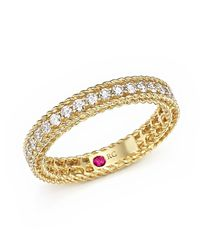 Roberto Coin | Metallic 18k Yellow Gold Symphony Braided Ring With Diamonds | Lyst