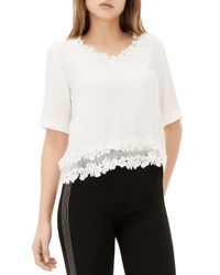 Sandro - White Eloire Lace Trimmed Top - Lyst