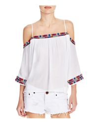 Piper - White Xico Embroidered Cold-shoulder Top - Lyst