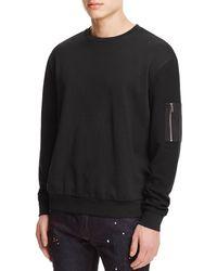 HUGO - Black Danremo Mixed Media Sweatshirt for Men - Lyst