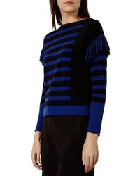 Karen Millen - Black Fringe Detail Sweater - Lyst