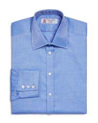 Turnbull & Asser | Blue Herringbone Textured Regular Fit Dress Shirt for Men | Lyst
